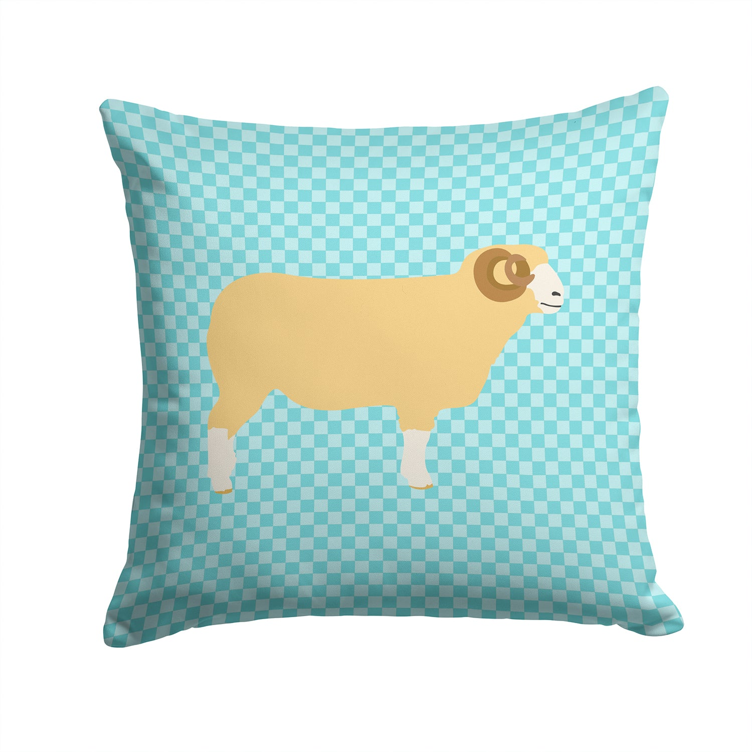 Buy this Horned Dorset Sheep Blue Check Fabric Decorative Pillow BB8154PW1414