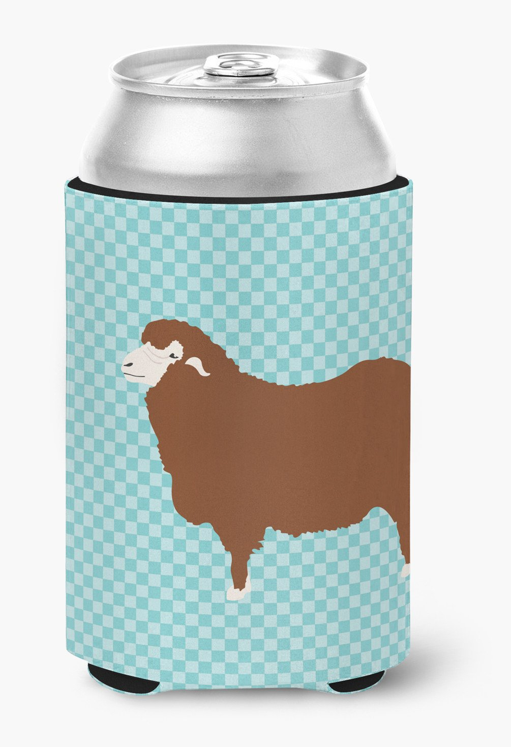 Merino Sheep Blue Check Can or Bottle Hugger BB8155CC by Caroline's Treasures