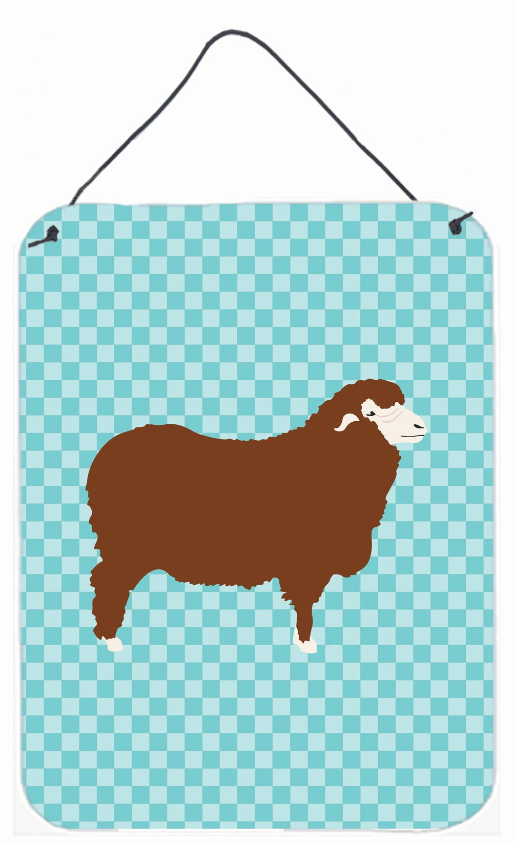 Merino Sheep Blue Check Wall or Door Hanging Prints BB8155DS1216 by Caroline's Treasures