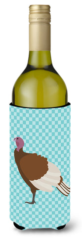 Buy this Bourbon Red Turkey Hen Blue Check Wine Bottle Beverge Insulator Hugger BB8156LITERK