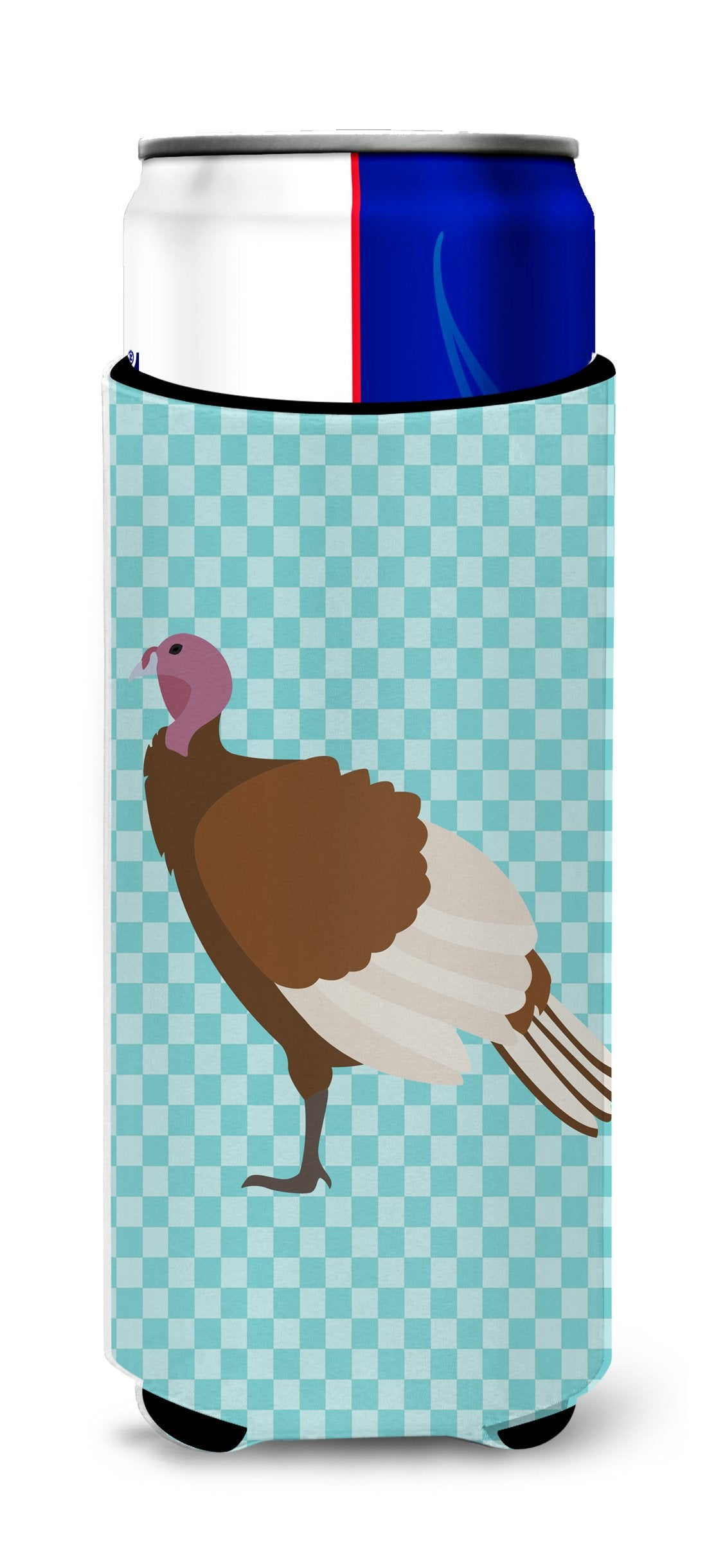 Buy this Bourbon Red Turkey Hen Blue Check Michelob Ultra Hugger for slim cans