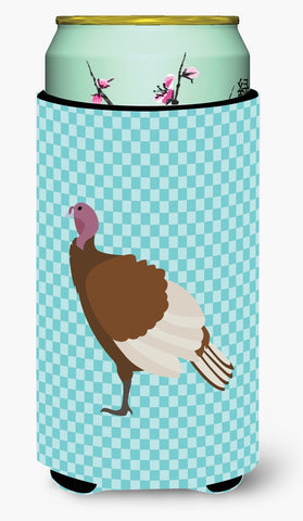 Buy this Bourbon Red Turkey Hen Blue Check Tall Boy Beverage Insulator Hugger BB8156TBC
