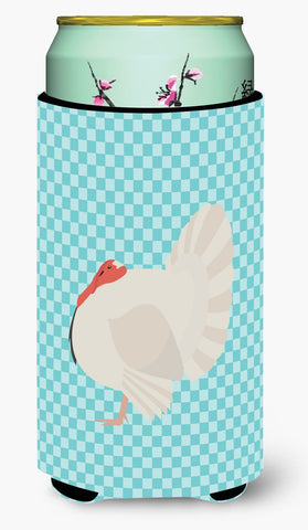 Buy this White Holland Turkey Blue Check Tall Boy Beverage Insulator Hugger BB8157TBC