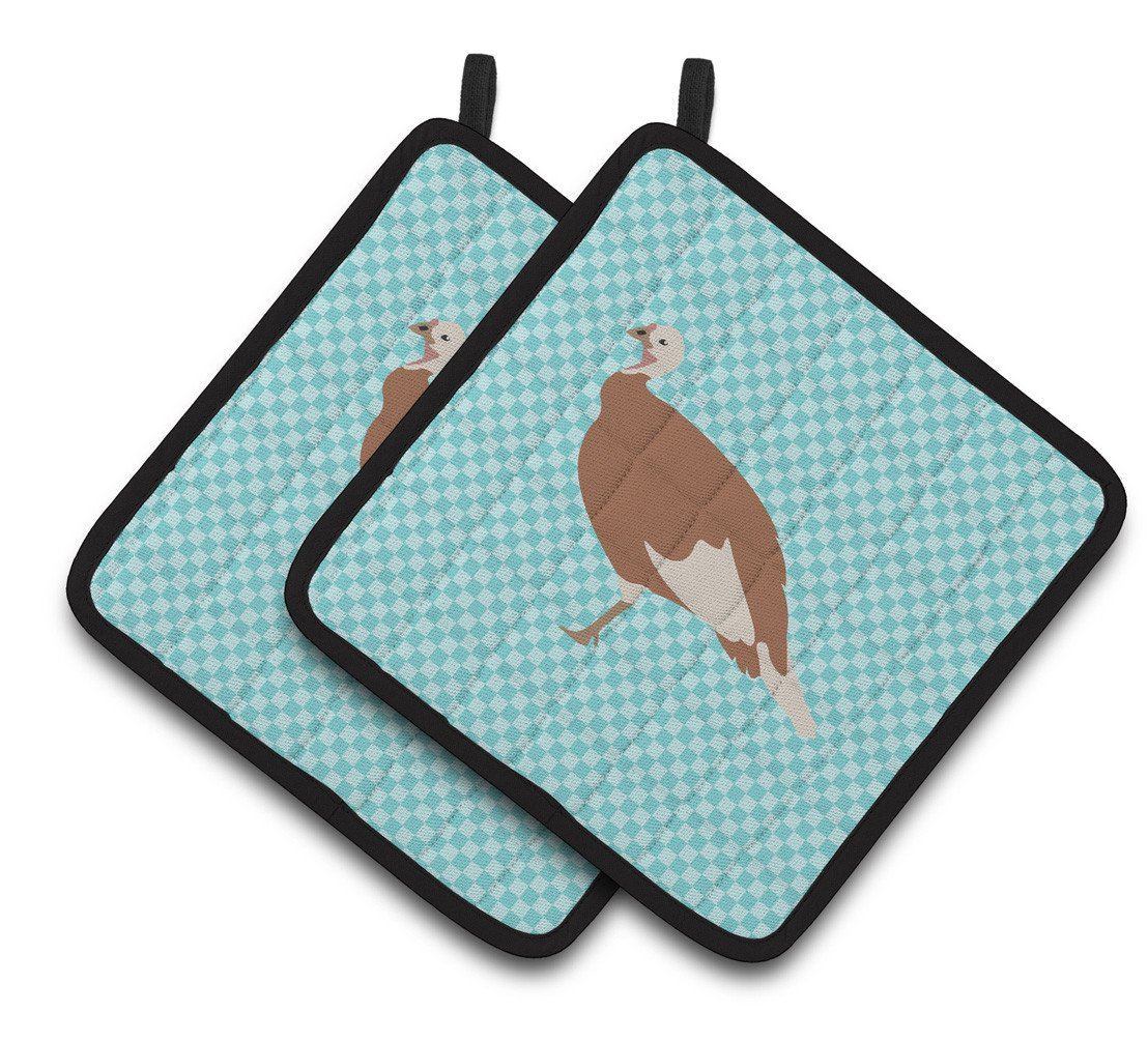 Jersey Buff Turkey Hen Blue Check Pair of Pot Holders BB8158PTHD by Caroline's Treasures