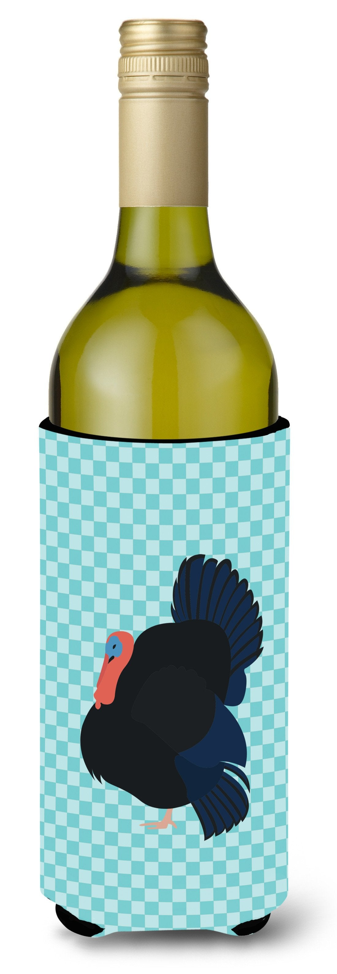 Norfolk Black Turkey Blue Check Wine Bottle Beverge Insulator Hugger BB8159LITERK by Caroline's Treasures