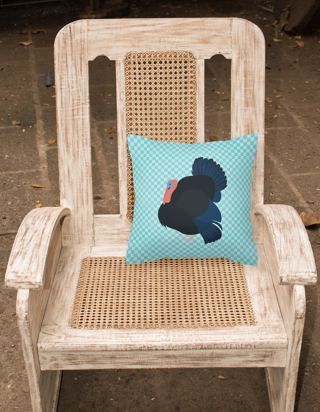Norfolk Black Turkey Blue Check Fabric Decorative Pillow BB8159PW1818 by Caroline's Treasures