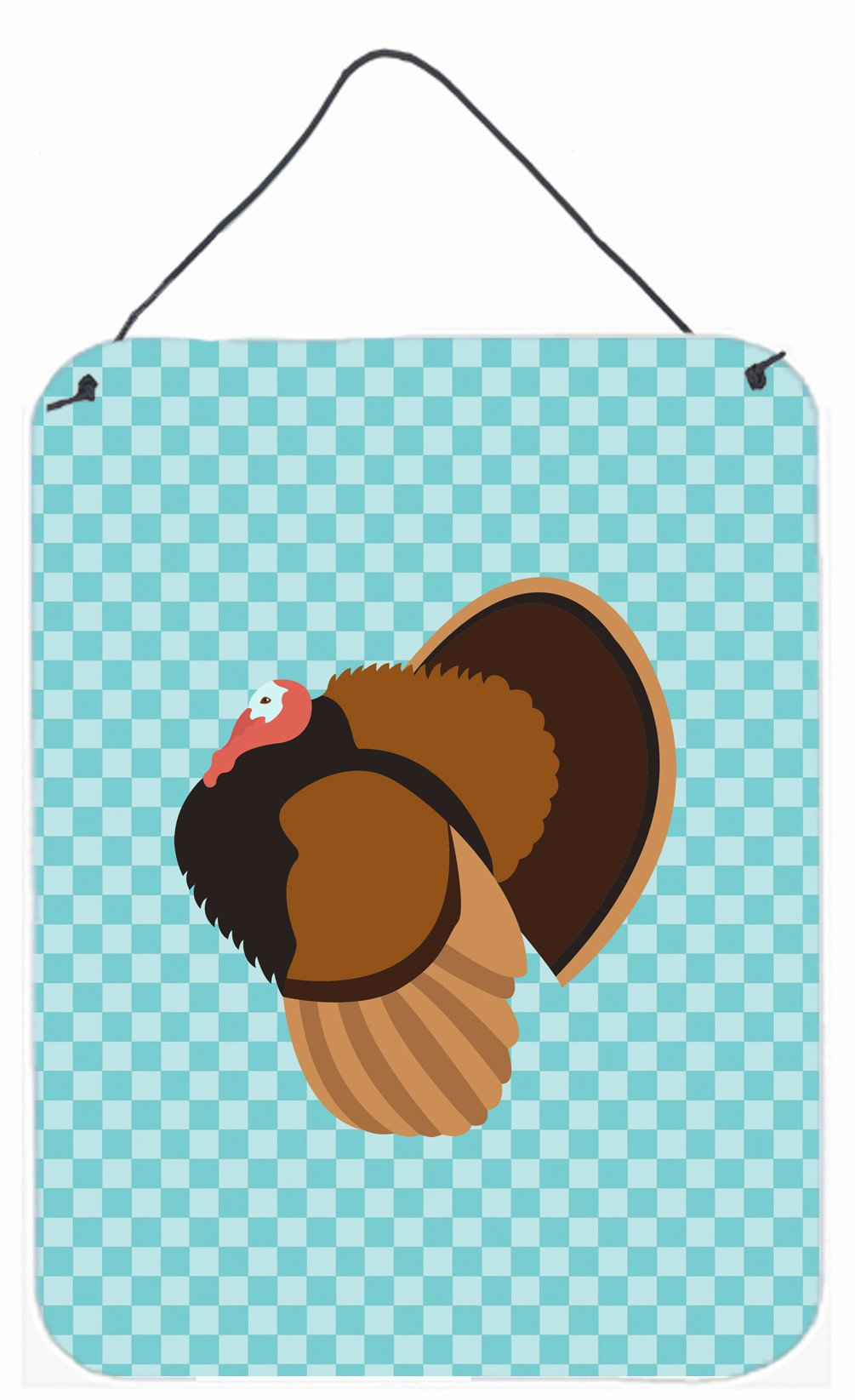 Bronze Turkey Blue Check Wall or Door Hanging Prints BB8160DS1216 by Caroline's Treasures