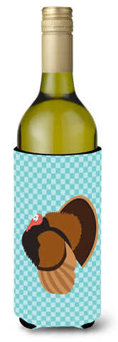 Buy this Bronze Turkey Blue Check Wine Bottle Beverge Insulator Hugger BB8160LITERK