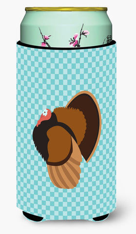 Buy this Bronze Turkey Blue Check Tall Boy Beverage Insulator Hugger BB8160TBC