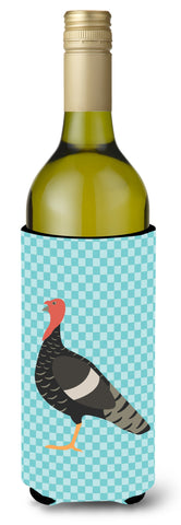 Buy this Marragansett Turkey Blue Check Wine Bottle Beverge Insulator Hugger BB8161LITERK