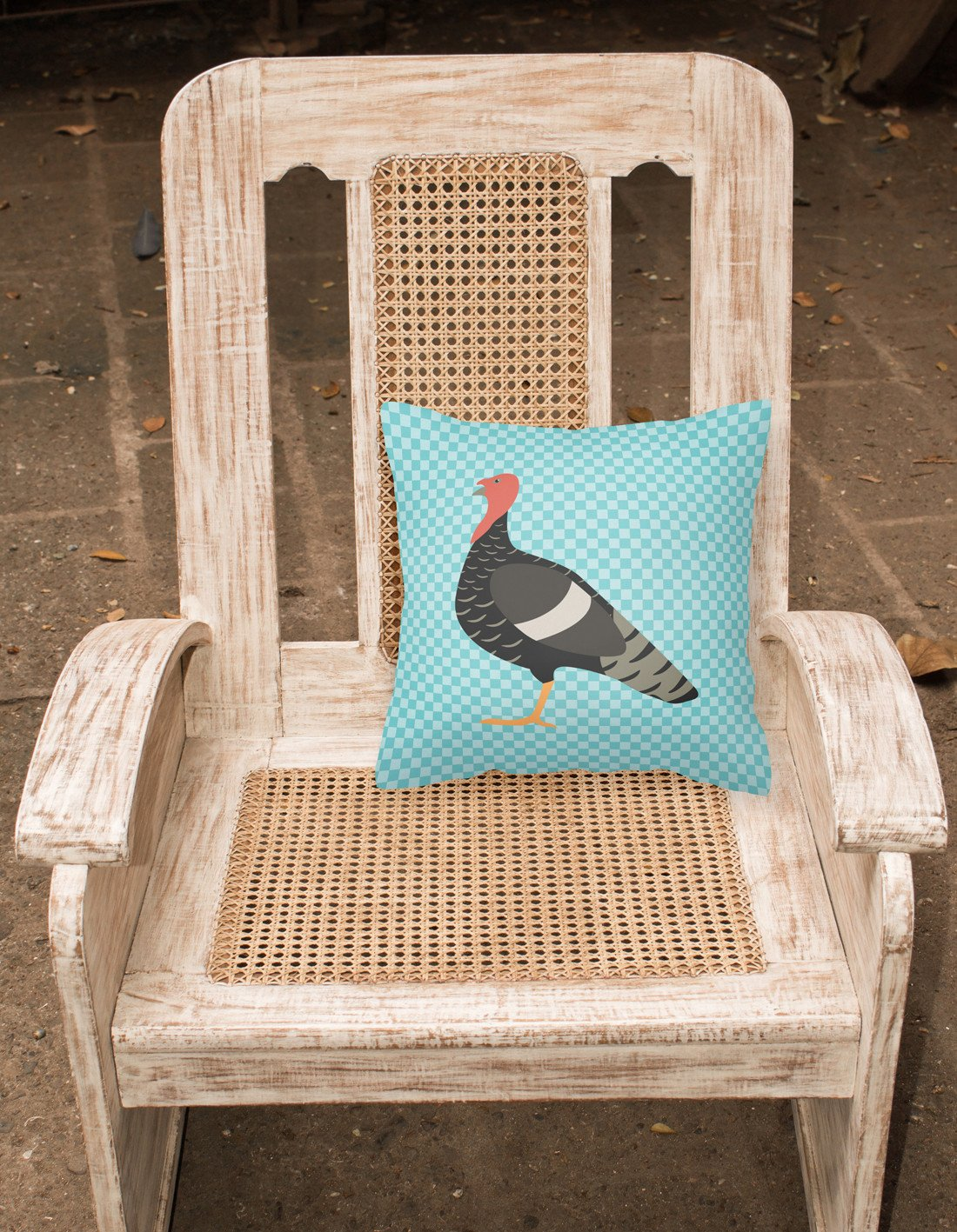 Marragansett Turkey Blue Check Fabric Decorative Pillow BB8161PW1818 by Caroline's Treasures