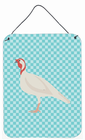 Buy this Beltsville Small White Turkey Hen Blue Check Wall or Door Hanging Prints BB8163DS1216