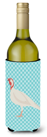 Buy this Beltsville Small White Turkey Hen Blue Check Wine Bottle Beverge Insulator Hugger BB8163LITERK