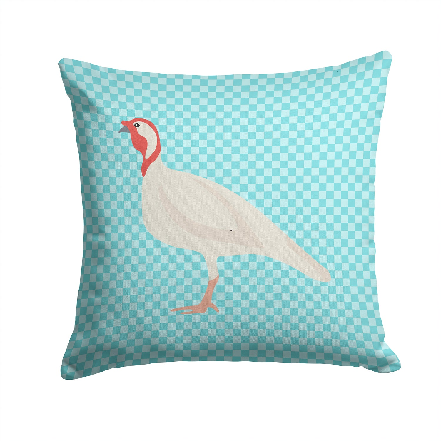 Beltsville Small White Turkey Hen Blue Check Fabric Decorative Pillow BB8163PW1414 by Caroline's Treasures