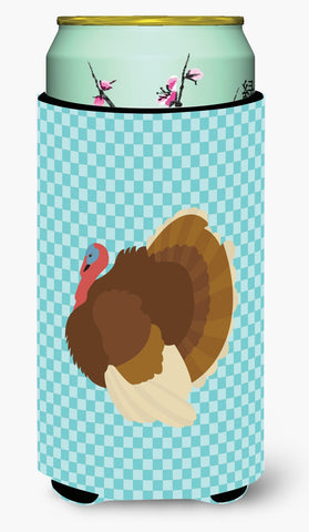 Buy this French Turkey Dindon Blue Check Tall Boy Beverage Insulator Hugger BB8164TBC