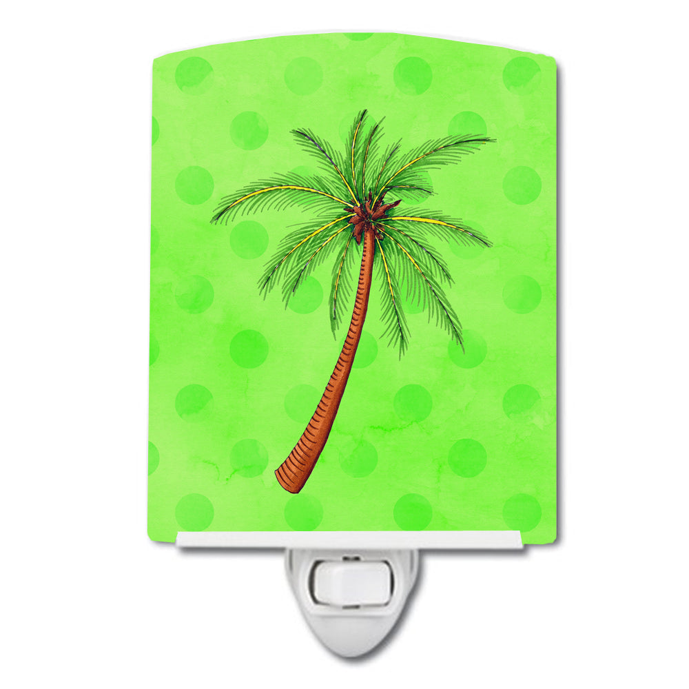 Palm Tree Green Polkadot Ceramic Night Light BB8165CNL by Caroline's Treasures