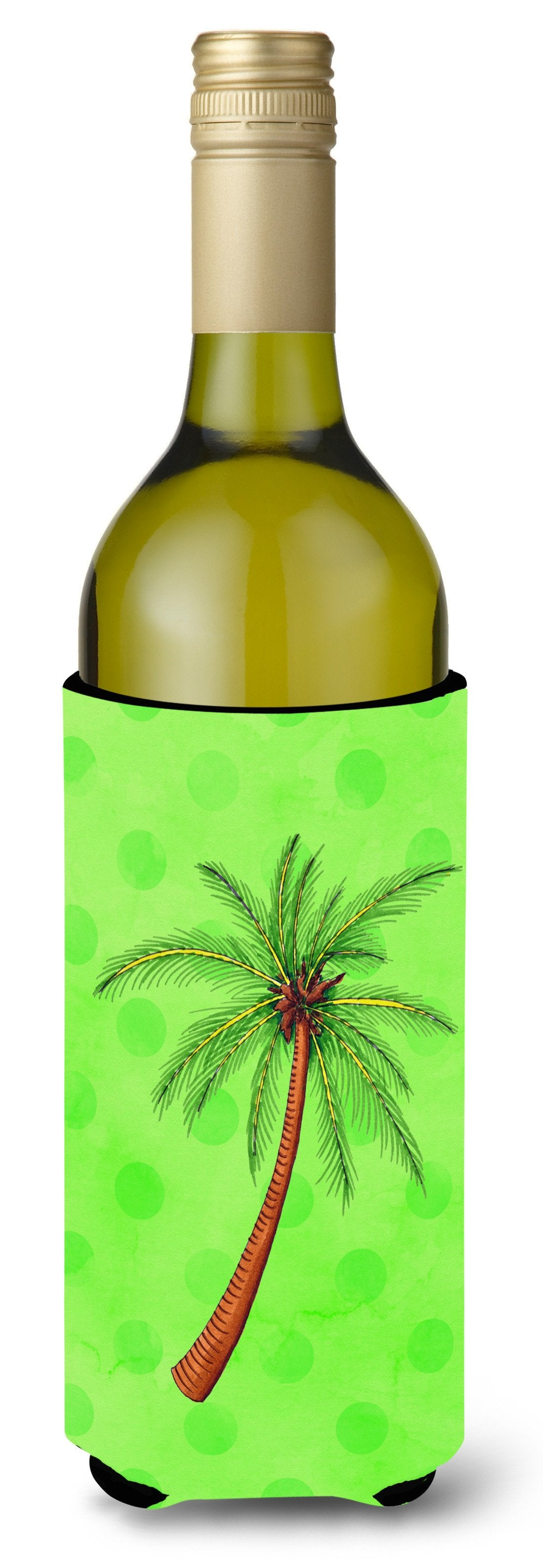 Buy this Palm Tree Green Polkadot Wine Bottle Beverge Insulator Hugger BB8165LITERK