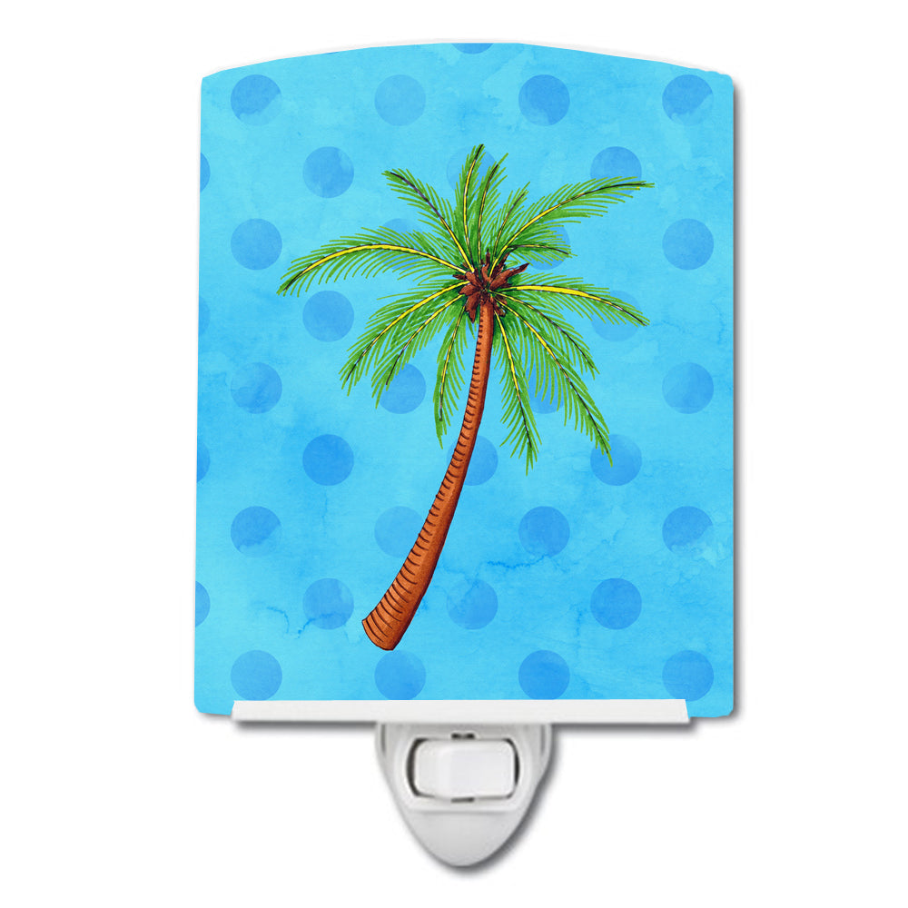 Palm Tree Blue Polkadot Ceramic Night Light BB8166CNL by Caroline's Treasures