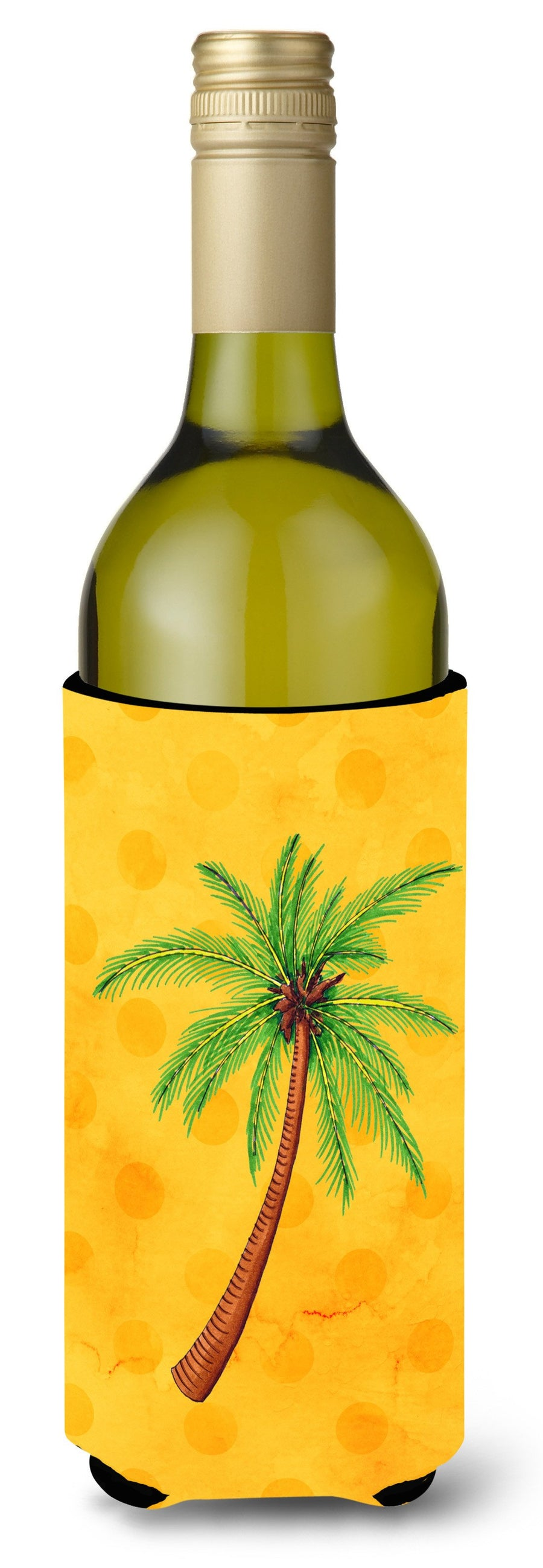 Buy this Palm Tree Yellow Polkadot Wine Bottle Beverge Insulator Hugger BB8167LITERK