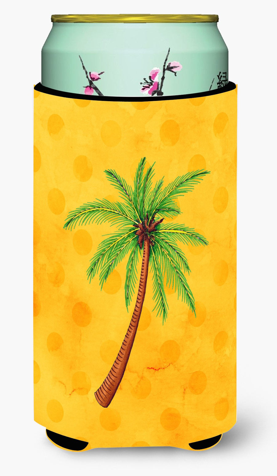 Buy this Palm Tree Yellow Polkadot Tall Boy Beverage Insulator Hugger BB8167TBC