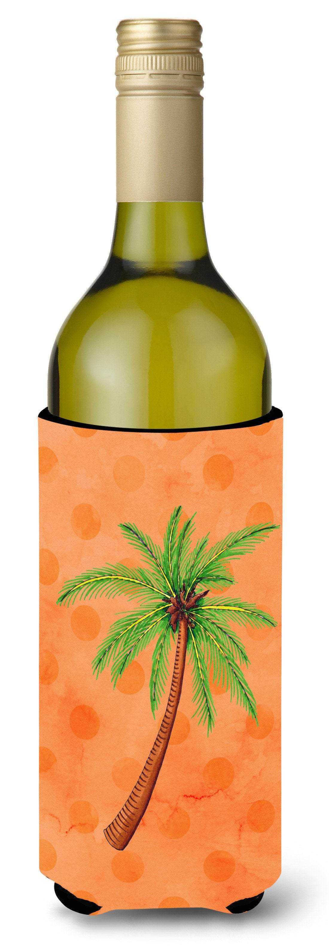 Palm Tree Orange Polkadot Wine Bottle Beverge Insulator Hugger BB8168LITERK by Caroline's Treasures