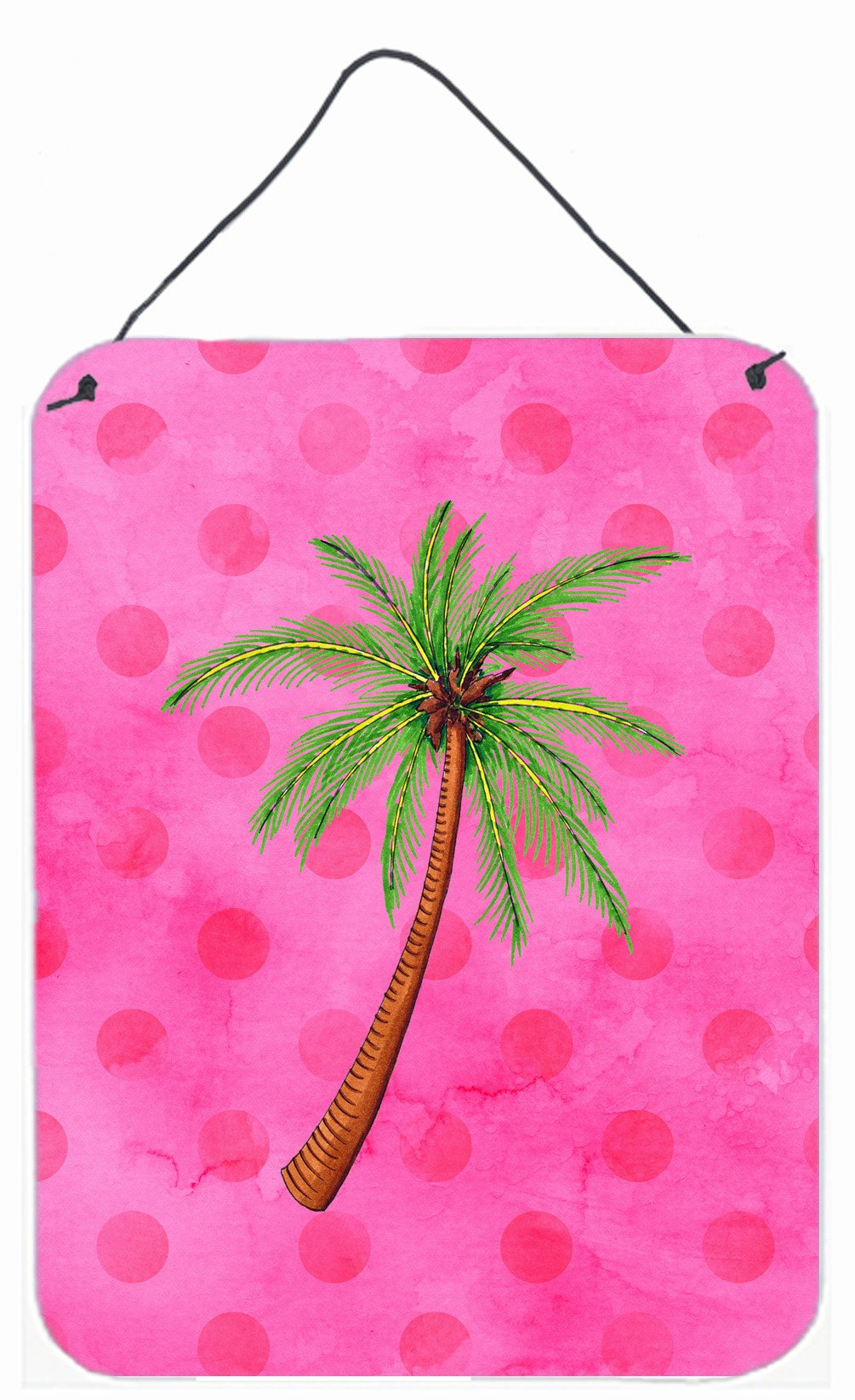 Palm Tree Pink Polkadot Wall or Door Hanging Prints BB8169DS1216 by Caroline's Treasures