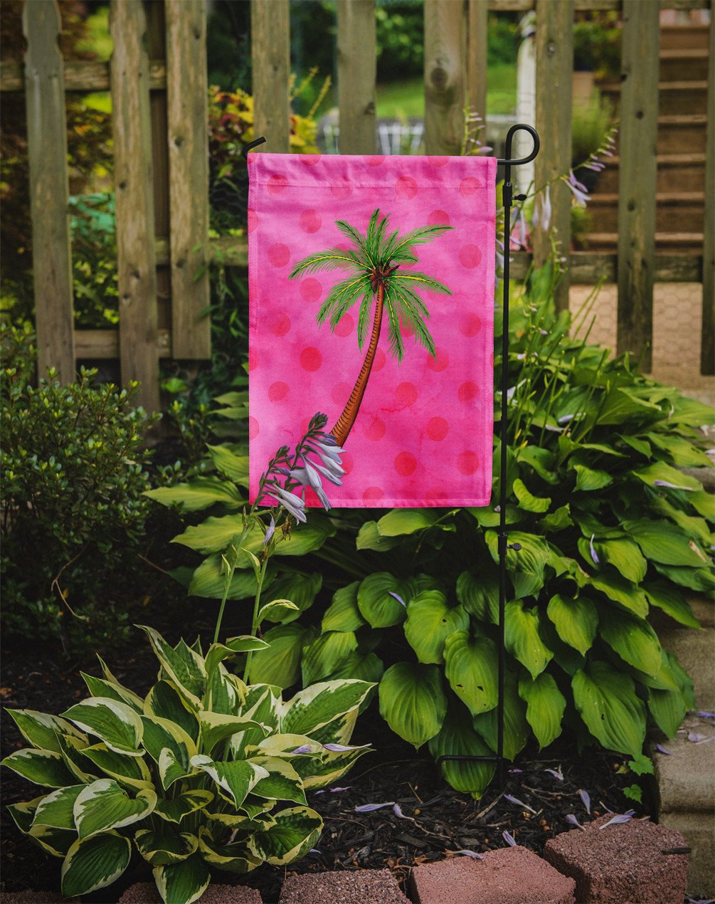 Palm Tree Pink Polkadot Flag Garden Size BB8169GF by Caroline's Treasures
