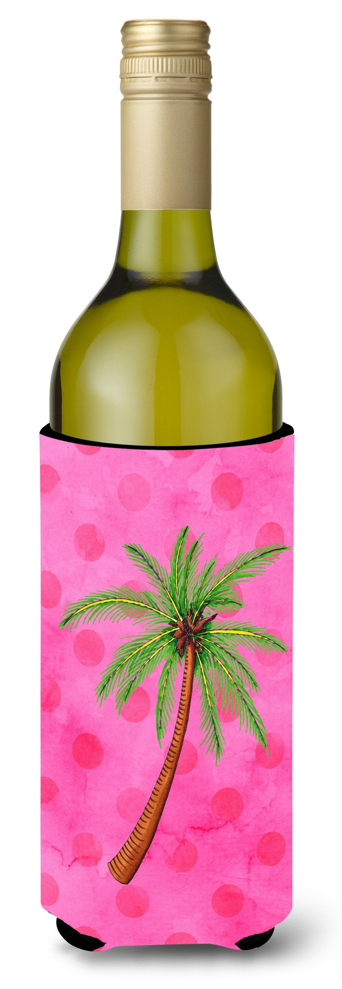 Palm Tree Pink Polkadot Wine Bottle Beverge Insulator Hugger BB8169LITERK by Caroline's Treasures