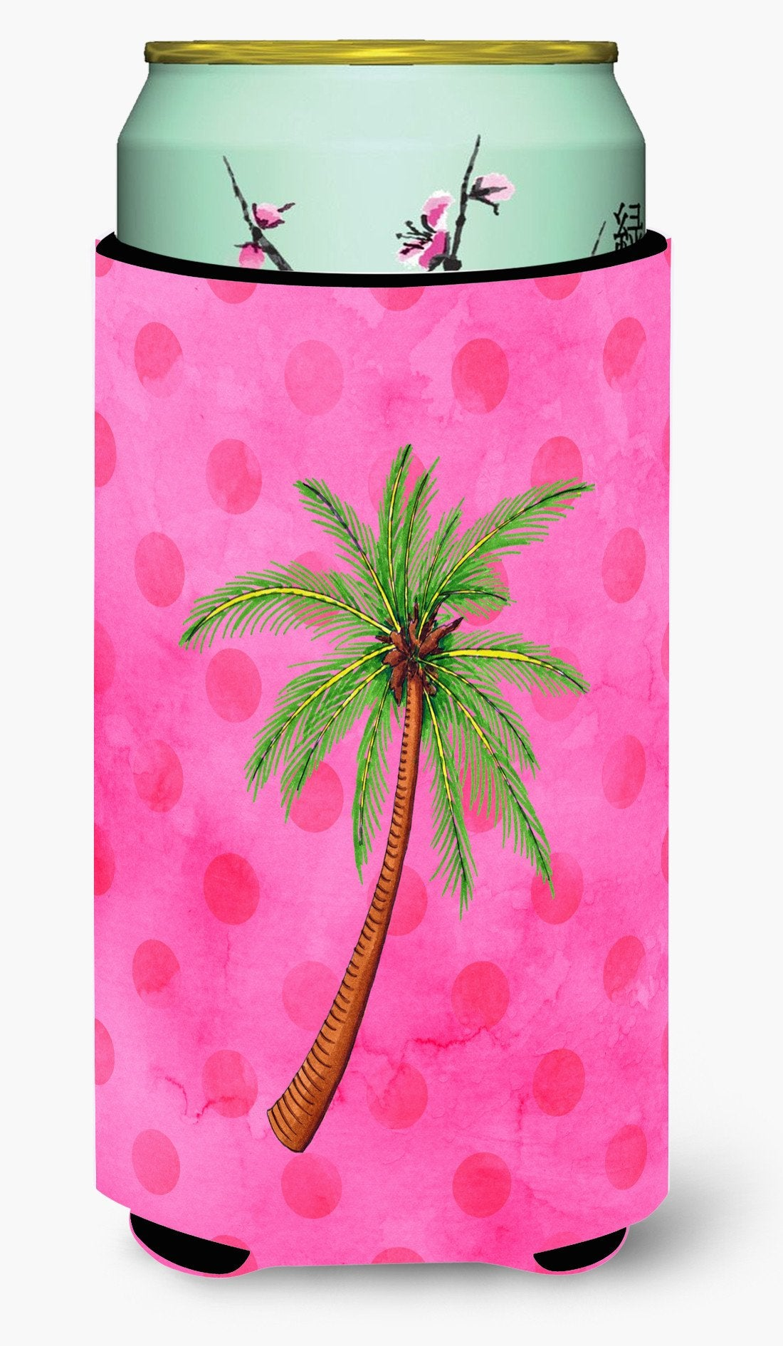 Palm Tree Pink Polkadot Tall Boy Beverage Insulator Hugger BB8169TBC by Caroline's Treasures