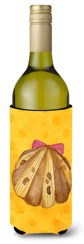 Buy this Sea Shell Yellow Polkadot Wine Bottle Beverge Insulator Hugger BB8172LITERK