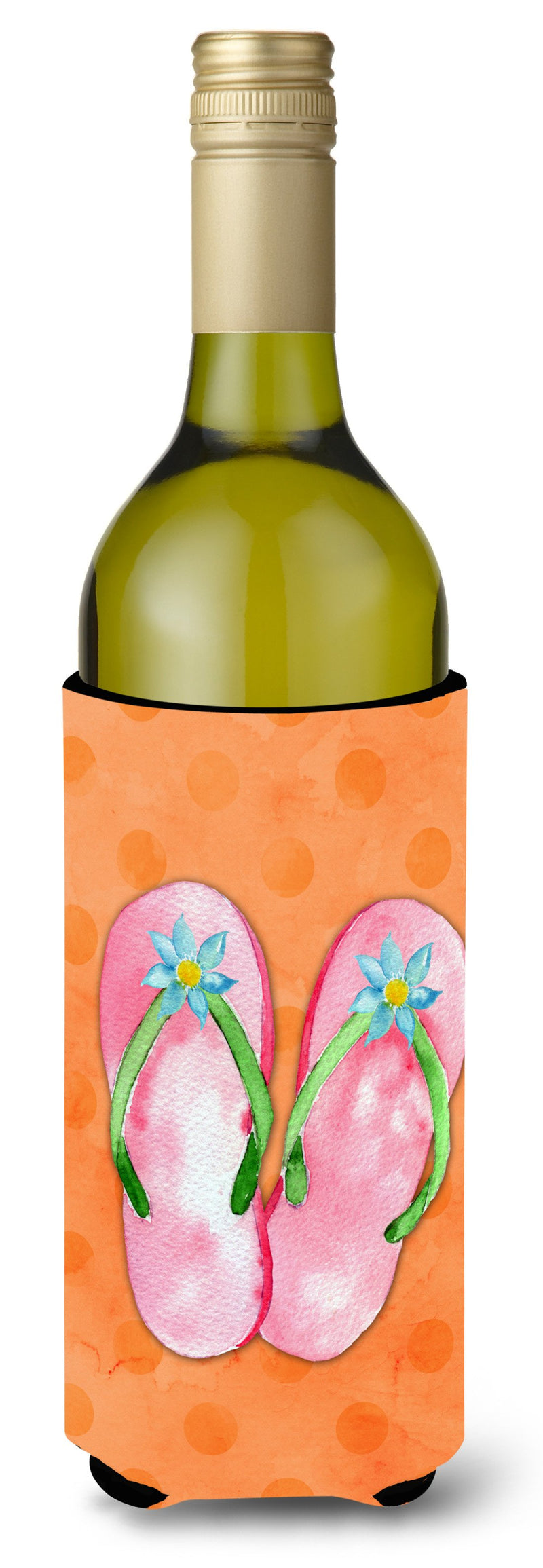 Buy this Pink Flip Flops Orange Polkadot Wine Bottle Beverge Insulator Hugger