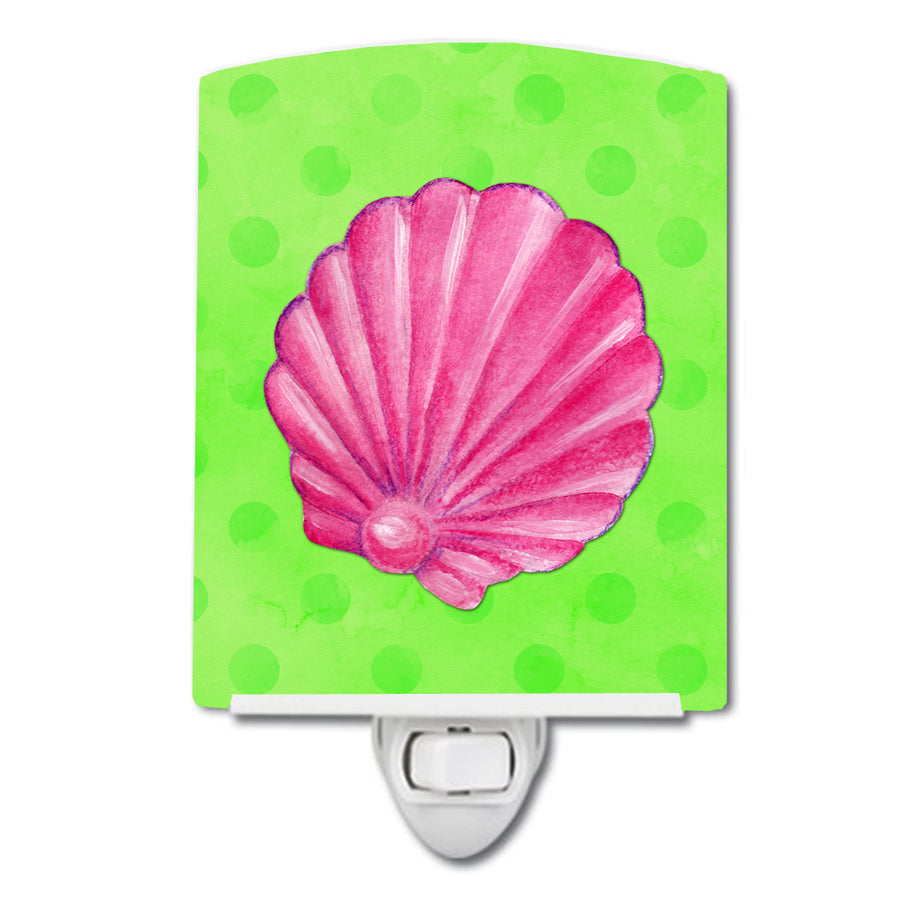 Buy this Pink Sea Shell Green Polkadot Ceramic Night Light BB8240CNL
