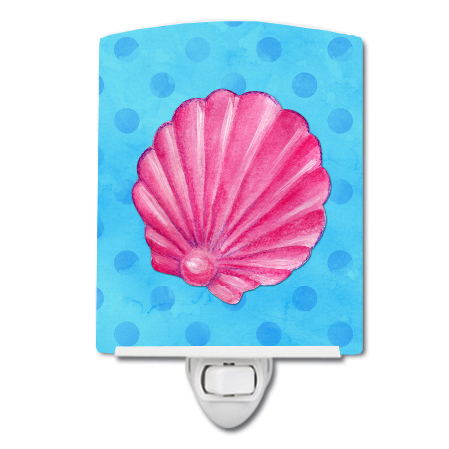 Buy this Pink Sea Shell Blue Polkadot Ceramic Night Light BB8241CNL