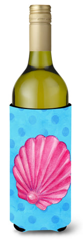 Buy this Pink Sea Shell Blue Polkadot Wine Bottle Beverge Insulator Hugger BB8241LITERK