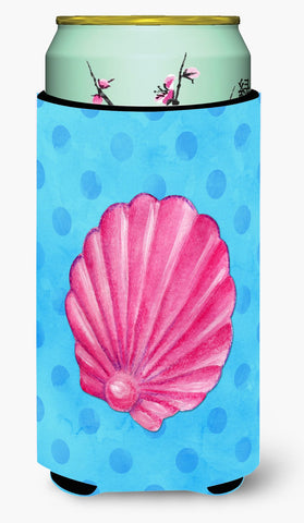 Buy this Pink Sea Shell Blue Polkadot Tall Boy Beverage Insulator Hugger BB8241TBC