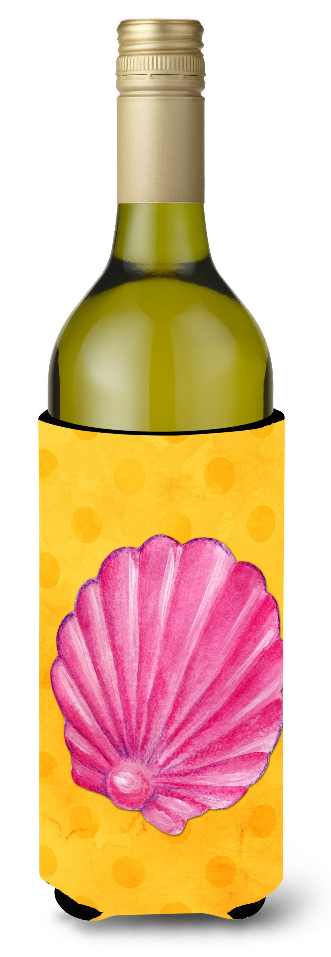 Buy this Pink Sea Shell Yellow Polkadot Wine Bottle Beverge Insulator Hugger BB8242LITERK