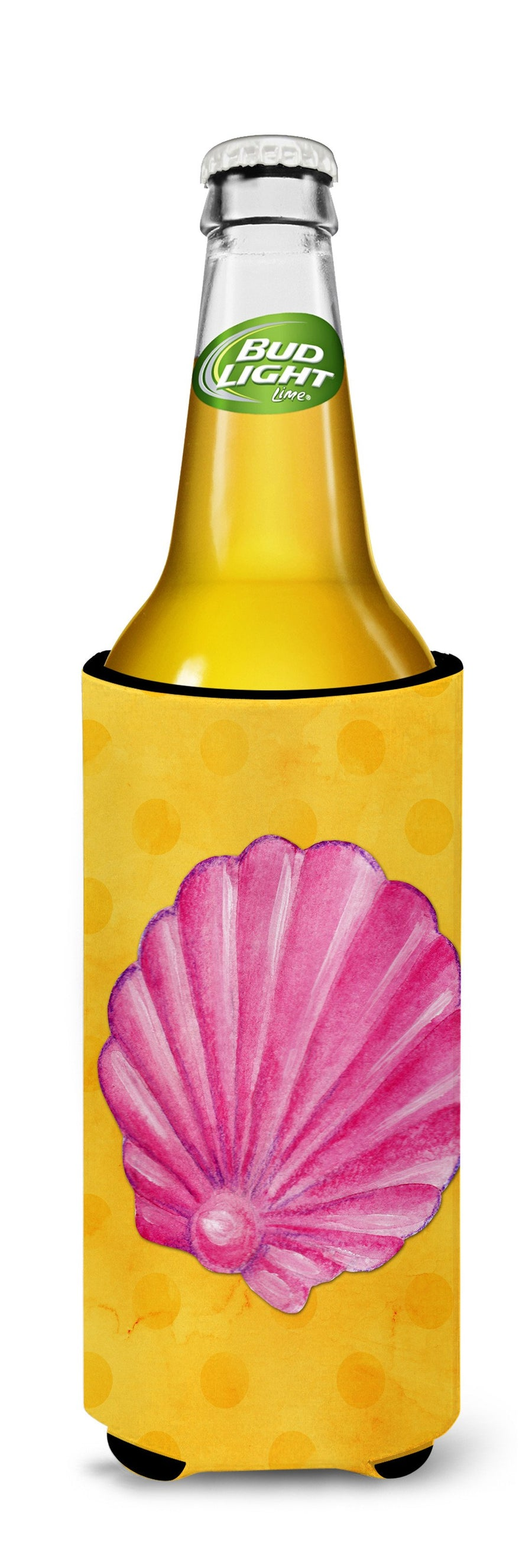 Buy this Pink Sea Shell Yellow Polkadot Michelob Ultra Hugger for slim cans BB8242MUK