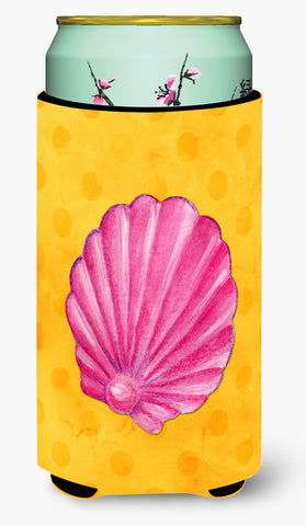 Buy this Pink Sea Shell Yellow Polkadot Tall Boy Beverage Insulator Hugger BB8242TBC