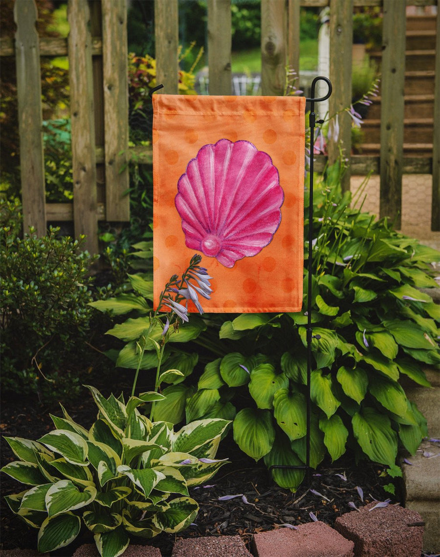 Buy this Pink Sea Shell Orange Polkadot Flag Garden Size BB8243GF