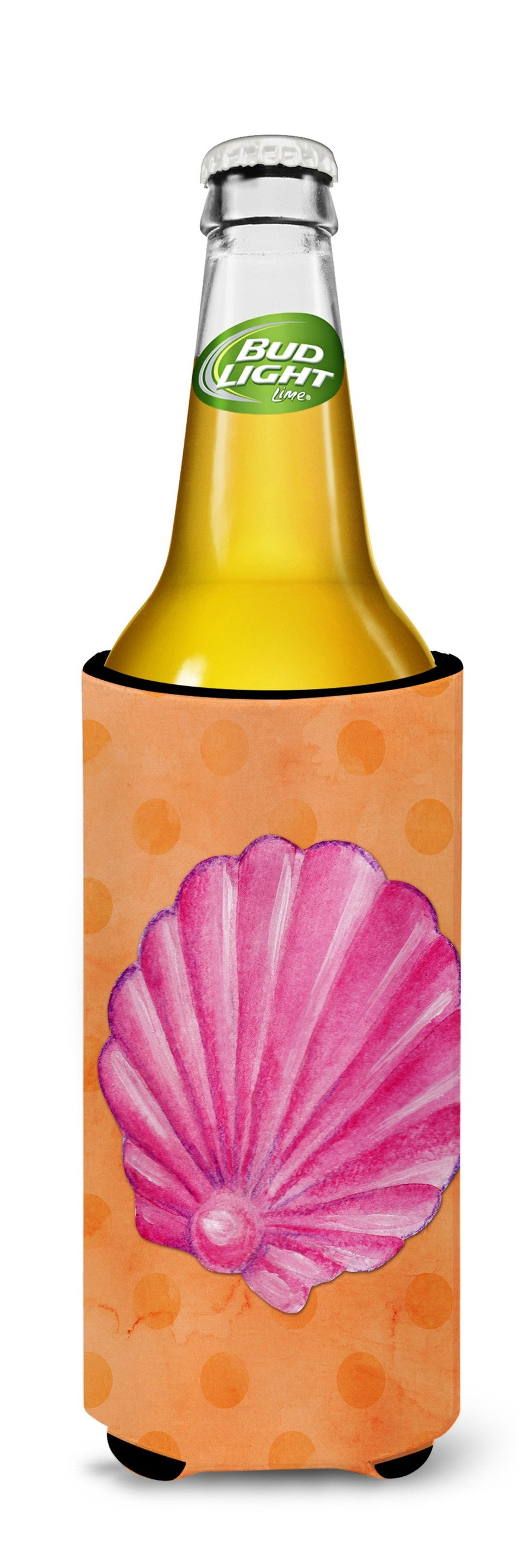 Buy this Pink Sea Shell Orange Polkadot Michelob Ultra Hugger for slim cans BB8243MUK