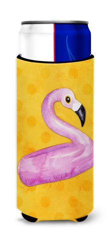 Buy this Flamingo Floaty Yellow Polkadot Michelob Ultra Hugger for slim cans BB8257MUK