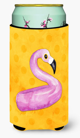 Buy this Flamingo Floaty Yellow Polkadot Tall Boy Beverage Insulator Hugger BB8257TBC