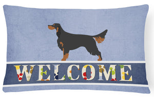 Buy this Gordon Setter Welcome Canvas Fabric Decorative Pillow BB8274PW1216