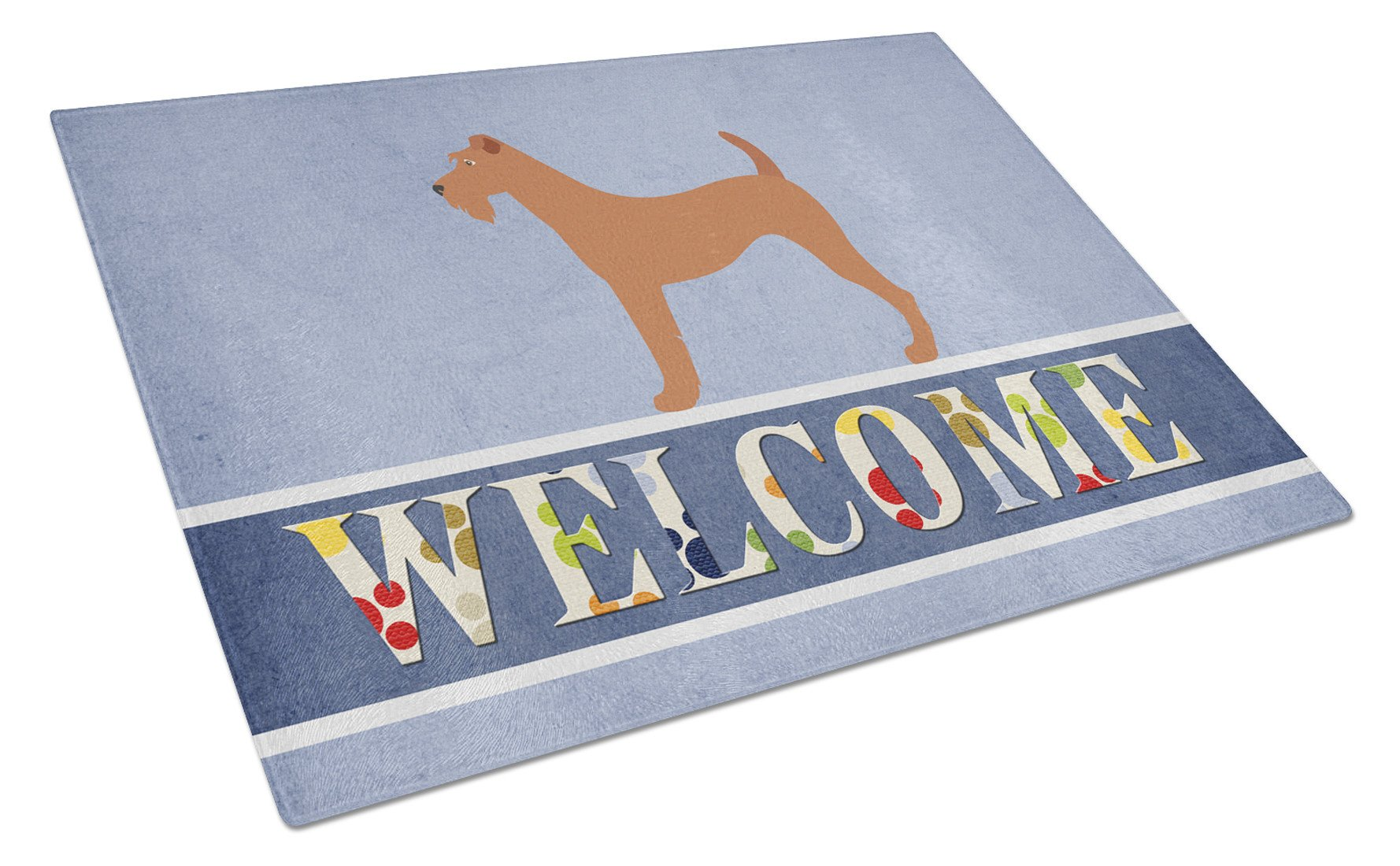 Irish Terrier Welcome Glass Cutting Board Large BB8276LCB by Caroline's Treasures