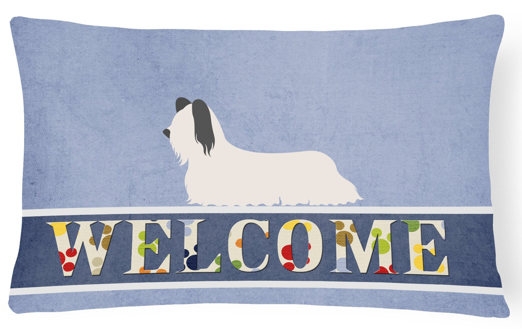 Skye Terrier Welcome Canvas Fabric Decorative Pillow BB8278PW1216 by Caroline's Treasures