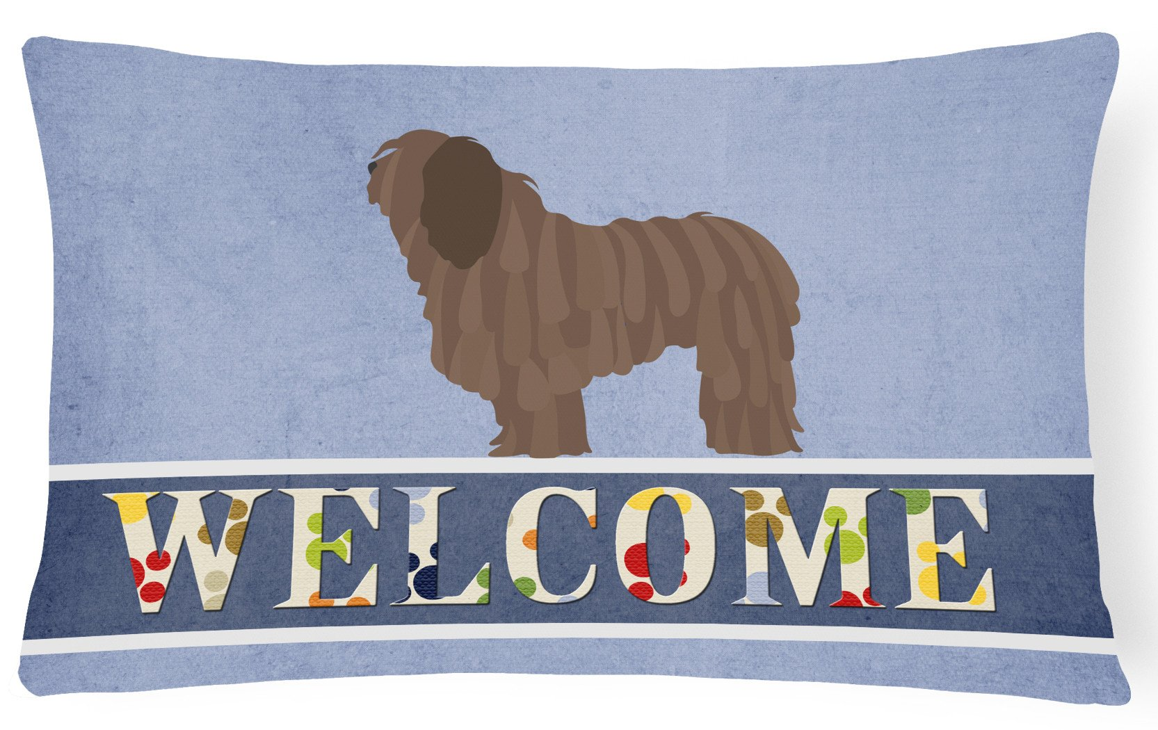 Bergamasco Shepherd Welcome Canvas Fabric Decorative Pillow BB8291PW1216 by Caroline's Treasures