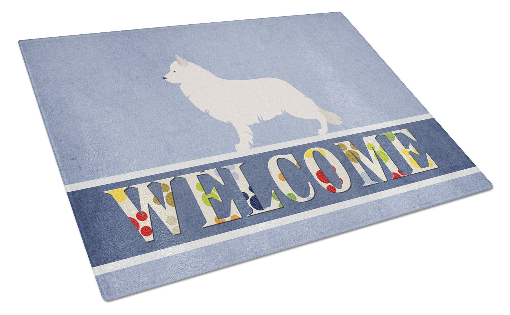 Berger Blanc Suisse Welcome Glass Cutting Board Large BB8292LCB by Caroline's Treasures