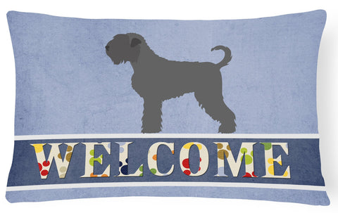 Buy this Black Russian Terrier Welcome Canvas Fabric Decorative Pillow BB8293PW1216