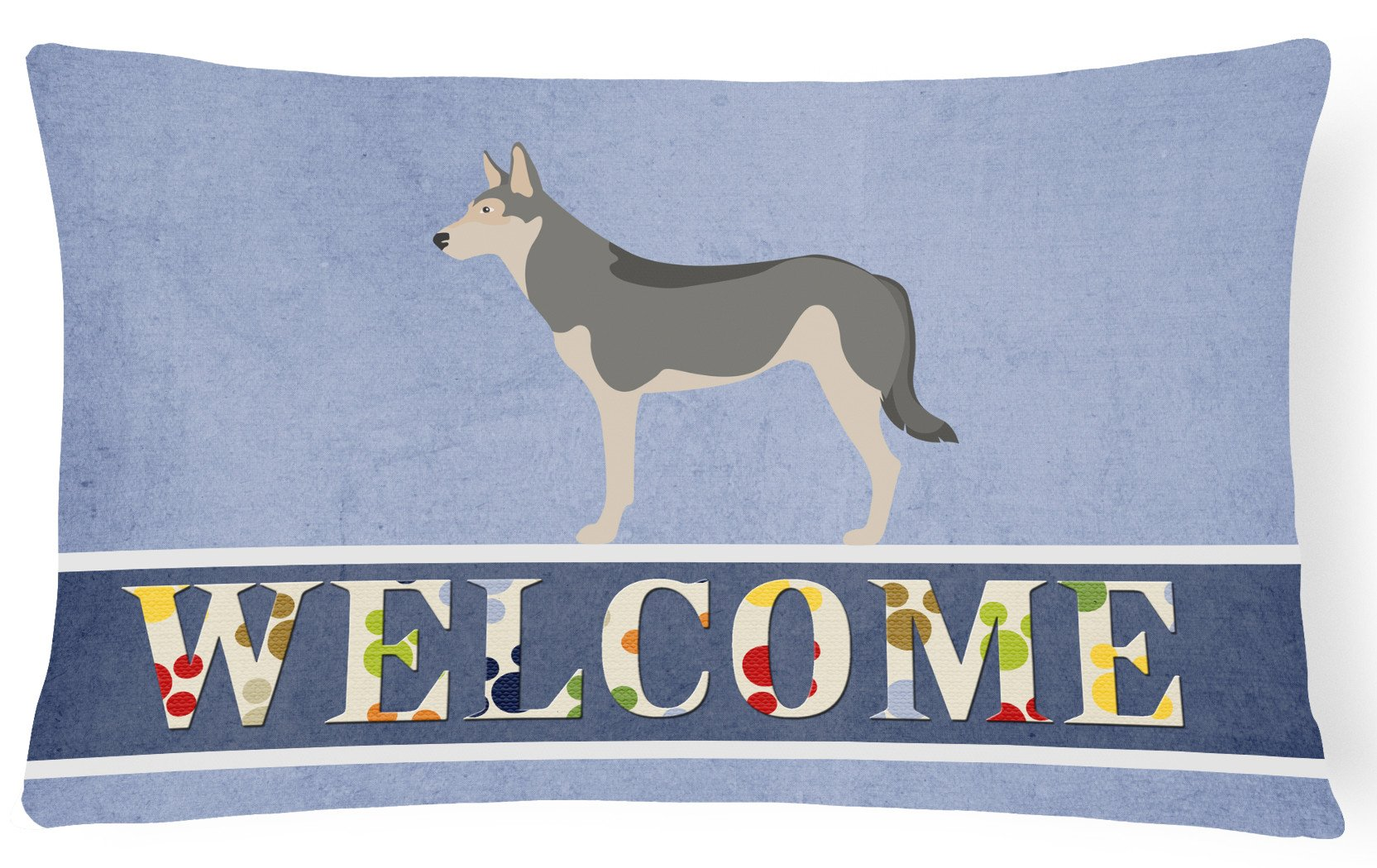 Saarloos Wolfdog Welcome Canvas Fabric Decorative Pillow BB8296PW1216 by Caroline's Treasures