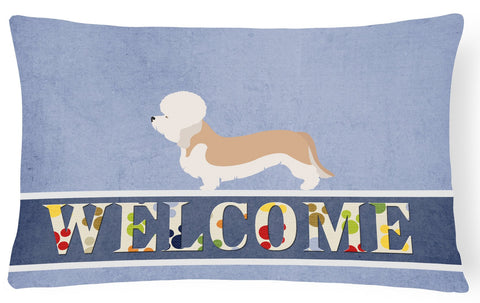 Buy this Dandie Dinmont Terrier Welcome Canvas Fabric Decorative Pillow BB8312PW1216